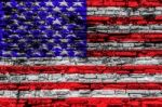 Usa Flag On Cracked Brick Wall Stock Photo
