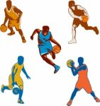 Basketball Player Dribbling Ball Collection Stock Photo
