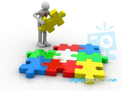 3d man assembling puzzle stock image royalty free image id 100192829