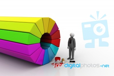 3d Man Painting A Color Wheel Stock Image