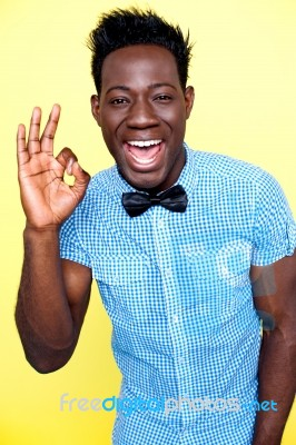 african guy showing okay gesture stock photo royalty free image id