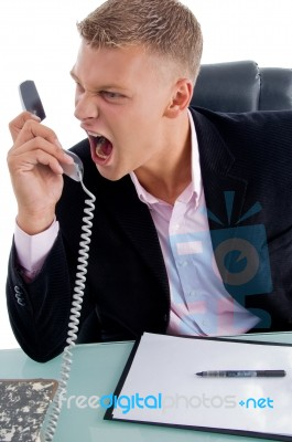 Angry Employee Shouting On Phone Stock Photo - Royalty ...