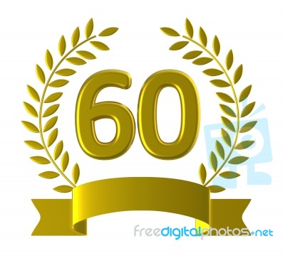 Anniversary Sixty Represents Happy Birthday And 60 Stock Image