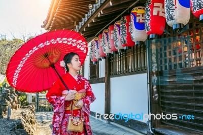 6f998e7e6c15e Asian Woman Wearing Japanese Traditional Kimono In Kyoto