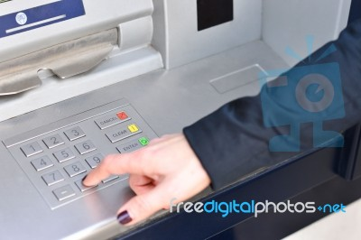 Atm - Entering Pin Code Stock Photo - Royalty Free Image ID