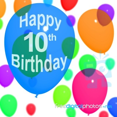 Balloons With Happy 10th Birthday Stock Image