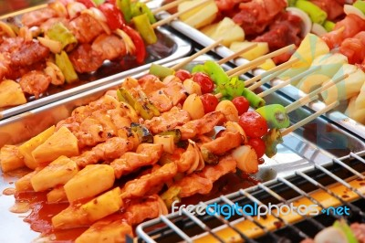 Bar B Q Or Bbq Grill Of Meat Skewers Stock Photo