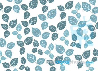 Blue Leaf Pattern On A White Background Stock Image