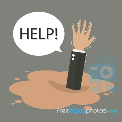 Businessman Hand Sinking In A Puddle Of Quicksand Stock Image - Royalty Free Image ID ...