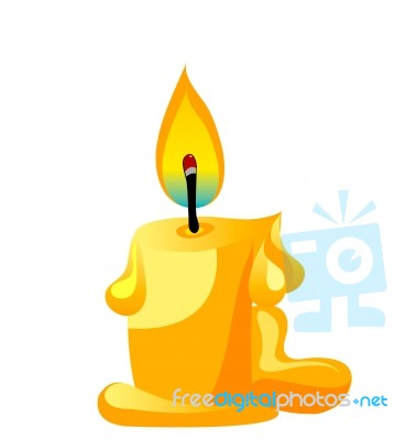 candle lit on white background stock image royalty free