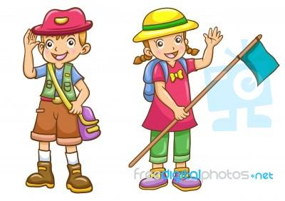 Cartoon Boygirl Scout Stock Image Royalty Free Image Id 100135117 - Cartoon-boy-images-free