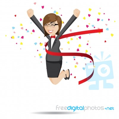 cartoon businesswoman in success action stock image royalty free image id 100257970 freedigitalphotos net