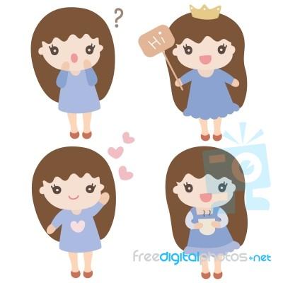 cartoon characters cute girl illustration stock image royalty free
