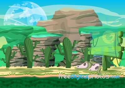 Cartoon Desert Background With Separated Layers For Game And