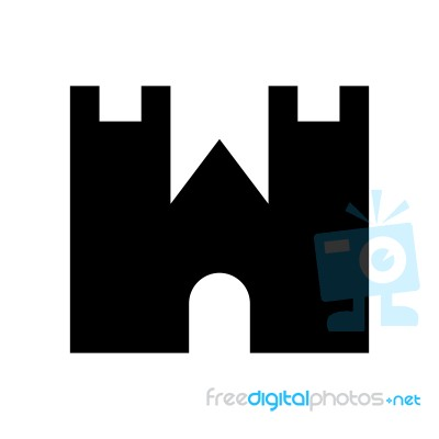 Castle Front Wall Symbol Icon Illustration On White Stock Image