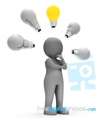 Character Lightbulbs Means Power Sources And Concept 3d Renderin… Stock Image