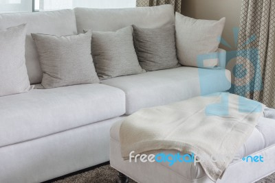 Fabulous Classic White Sofa With Pillows Stock Photo Royalty Free Squirreltailoven Fun Painted Chair Ideas Images Squirreltailovenorg