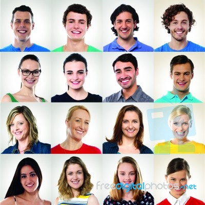 collage of smiling people multiple ethnicity stock photo royalty