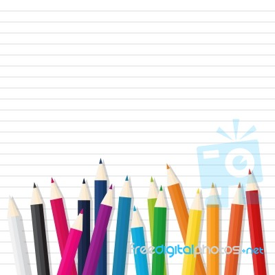 Color Wooden Pencil On Line Paper Background Stock Image Royalty