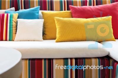 Colorful Cushion In Sofa Stock Photo