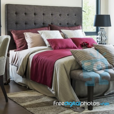 Modern Family Pillows On Bed : Colorful Pillow On Bed In A Modern House Stock Photo - Royalty Free Image ID 100482588