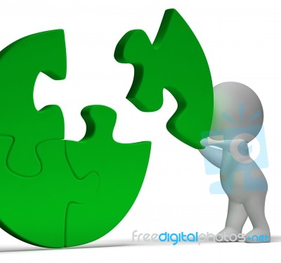 completing jigsaw showing solution completing or achievement stock