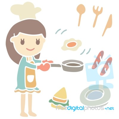 Cute girl cooking breakfast cartoon illustration stock image royalty free image id 100158271 - Stylish cooking ...