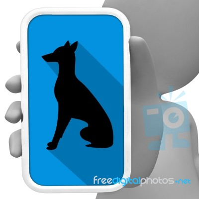 Dogs Online Indicates Mobile Phone And Canines 3d