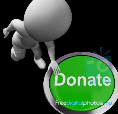 Donate Button Shows Charity Donations And Fundraising Stock