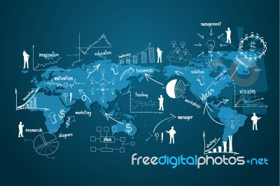 Drawing business strategy plan concept idea on world map stock image drawing business strategy plan concept idea on world map stock image gumiabroncs Images