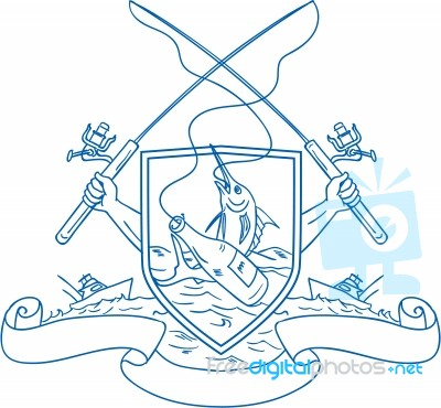 Fishing Rod Reel Hooking Blue Marlin Beer Bottle Coat Of Arms Drawing Stock Image Royalty Free Image Id 100431487