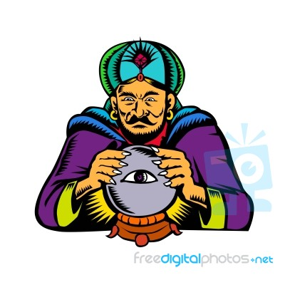 Fortune Teller With Crystal Ball Woodcut Stock Image - Royalty Free