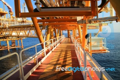 Gangway Or Walk Way In Oil And Gas Construction Platform, Oil And
