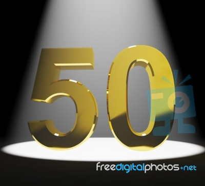Golden Number 50 With Spotlit Stock Image - Royalty Free Image ID ...