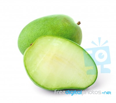 green mango isolated on a white background stock photo