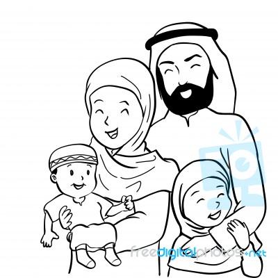 Islamic Family Cartoon Moslem Corner
