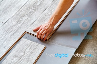 Handyman S Hands Laying Down Laminate Flooring Boards Stock Photo