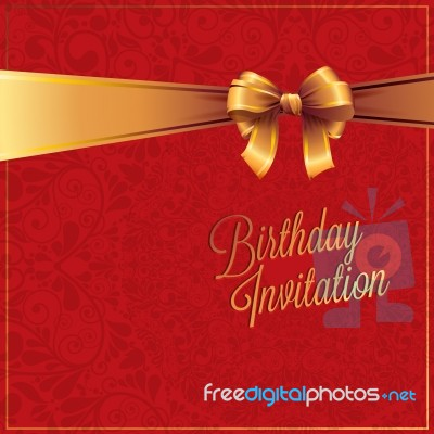 Happy Birthday Red Color Card And Gold Ribbon Design Stock Image