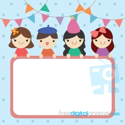 Happy Boy And Girl With White Board On Party Theme Background Stock Image