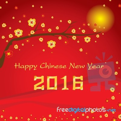 Happy Chinese New Year 2016 Card And Colorful Flower On Red Background Stock Image