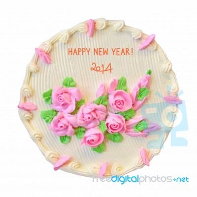 happy new year cake 2014 stock image