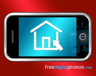 House Symbol On Mobile Phone Stock Image Royalty Free Image Id
