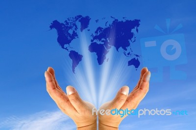 World Map On Hands.Human Hands Holding World Map Stock Photo Royalty Free Image Id