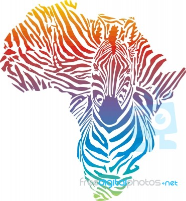 Map Of Africa In Rainbow Zebra Camouflage Stock Image Royalty Free
