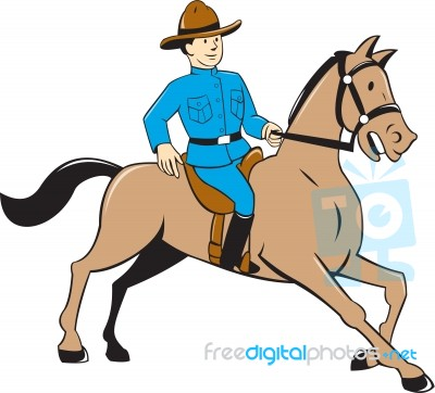Mounted Police Officer Riding Horse Cartoon Stock Image Royalty Free Image Id 100309917