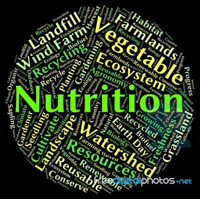 nutrition word shows nutrients food and words stock image royalty