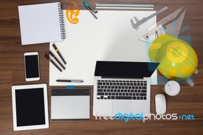 office desk background with construction project ideas concept stock photo - Web Design Project Ideas