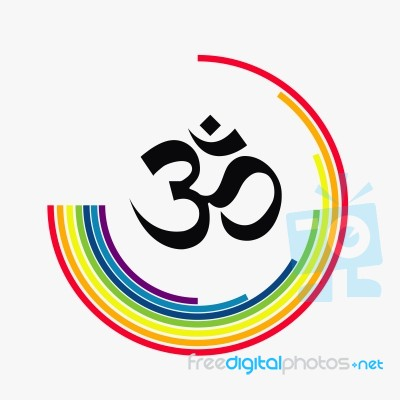 Om Aum Symbol Of Hinduism Icon And Rainbow Stock Image Royalty
