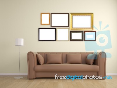 Picture Frame On Wall And Sofa Furniture Interior Design Stock Image