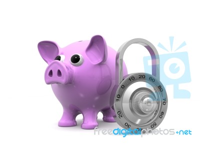 Piggy bank with lock stock image royalty free image id for Large piggy bank with lock